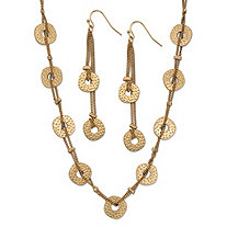 "Hammered Coin Double Strand 2-Piece Drop Earrings and Necklace Set 18k Yellow Gold-Plated 34""-37"""