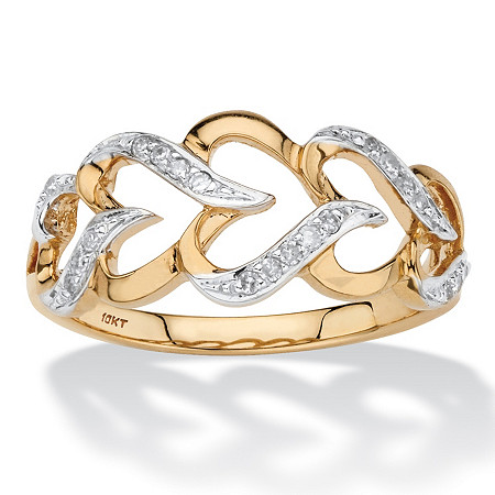 1/10 TCW Round Diamond Cutout Heart-Link Ring in Solid 10k Yellow Gold at PalmBeach Jewelry