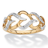 1/10 TCW Round Diamond Cutout Heart-Link Ring in Solid 10k Yellow Gold