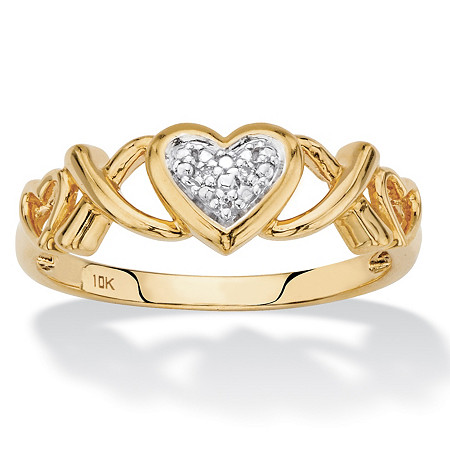 Diamond Accent Hearts and Kisses Ring in Solid 10k Yellow Gold at PalmBeach Jewelry