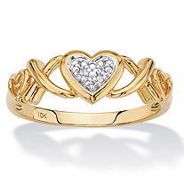 Diamond Accent Hearts and Kisses Ring in Solid 10k Yellow Gold