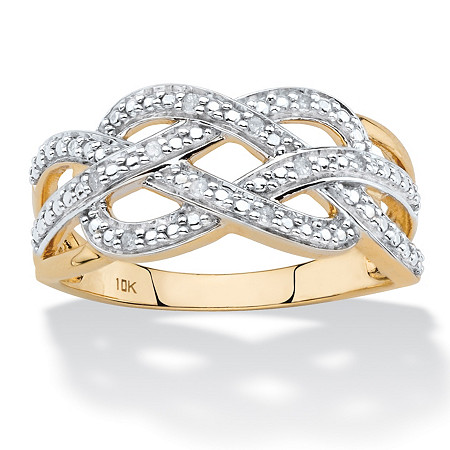 Diamond Accent Infinity Crossover Ring in Solid 10k Yellow Gold at PalmBeach Jewelry