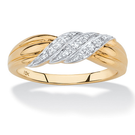 Diamond Accent Diagonal Row Ring in Solid 10k Yellow Gold at PalmBeach Jewelry