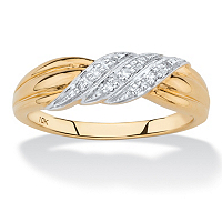 Diamond Accent Diagonal Row Ring In Solid 10k Yellow Gold ONLY $124.99