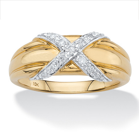 1/8 TCW Round Diamond Crisscross Ring in Solid 10k Yellow Gold at PalmBeach Jewelry