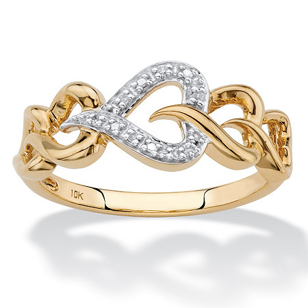 Diamond Accent Heart-Link Ring in Solid 10k Yellow Gold at PalmBeach Jewelry