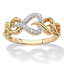 Diamond Accent Heart-Link Ring in Solid 10k Yellow Gold