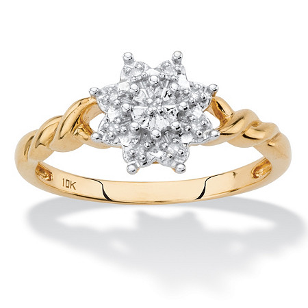 Diamond Accent Starburst Twisted Ring in Solid 10k Yellow Gold at PalmBeach Jewelry