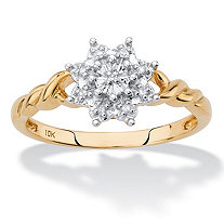 Diamond Accent Starburst Twisted Ring in Solid 10k Yellow Gold