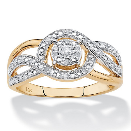 1/10 TCW White Diamond Crossover Halo Ring in Solid 10k Yellow Gold at PalmBeach Jewelry