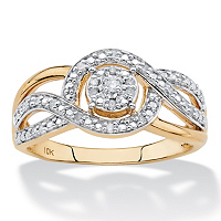 1/10 TCW White Diamond Crossover Halo Ring In Solid 10k Yellow Gold ONLY $175.00