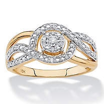 1/10 TCW White Diamond Crossover Halo Ring in Solid 10k Yellow Gold