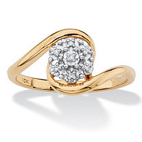 Diamond Accent Bypass Cluster Ring in Solid 10k Yellow Gold
