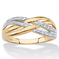 Diamond Accent Crossover Ring in Solid 10k Yellow Gold