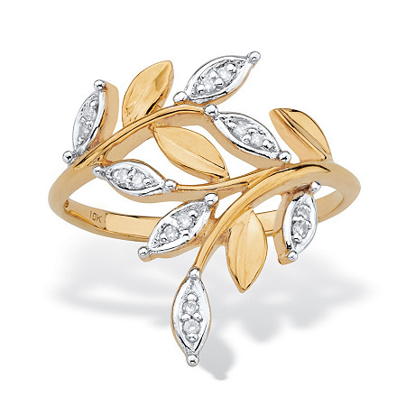 Diamond Accent Marquise-Shaped Bypass Leaf Ring in Solid 10k Yellow Gold at PalmBeach Jewelry