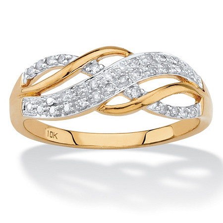 .12 TCW Round Diamond Solid 10k Yellow Gold Infinity Crossover Ring at PalmBeach Jewelry