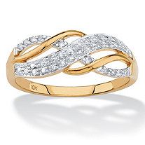 SETA JEWELRY .12 TCW Round Diamond Solid 10k Yellow Gold Infinity Crossover Ring