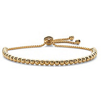 Beaded Adjustable Drawstring Slider Bracelet 14k Yellow Gold-Plated 10""
