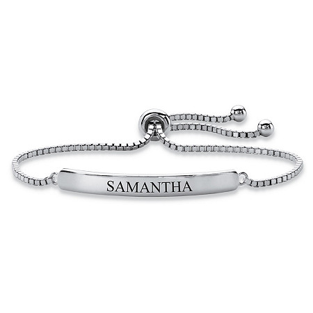 "Personalized Name Bar Drawstring Adjustable Slider Bracelet in Silvertone 10"" at PalmBeach Jewelry"
