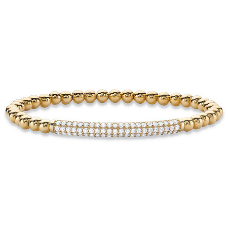 "Round Cubic Zirconia Beaded Stretch Bracelet 14k Yellow Gold-Plated 7"" (.99 TCW) at PalmBeach Jewelry"