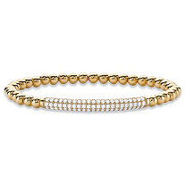 "Round Cubic Zirconia Beaded Stretch Bracelet 14k Yellow Gold-Plated 7"" (.99 TCW)"