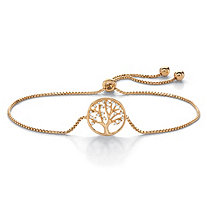 "Cubic Zirconia Tree of Life Slider Bracelet in 14k Yellow Gold over Sterling Silver 10"" (.11 TCW)"