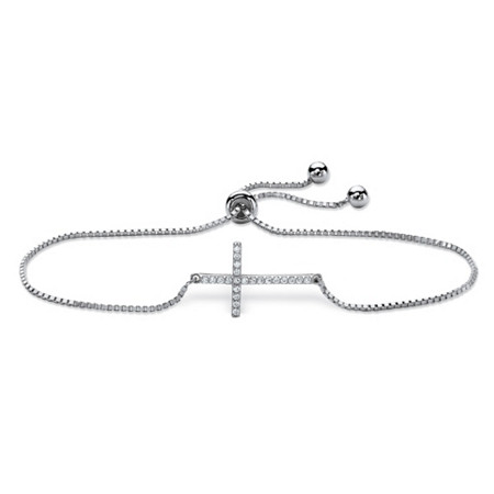 Cubic Zirconia Horizontal Cross Drawstring Slider Box-Link Bracelet in Sterling Silver 10