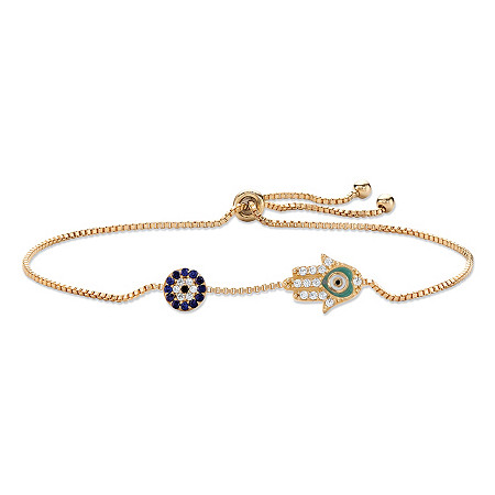 Created Blue Sapphire and CZ Hamsa Drawstring Slider Bracelet 14k Gold-Plated 10