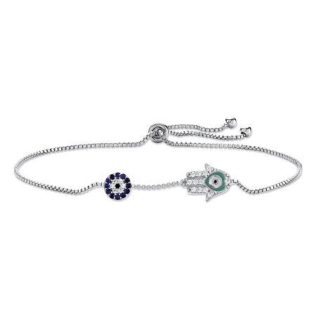 Created Blue Sapphire and CZ Hamsa Drawstring Slider Bracelet Silvertone 10