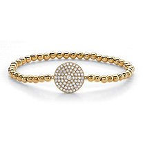 Round Cubic Zirconia Beaded Stretch Bracelet 18k Yellow Gold-Plated 7.25