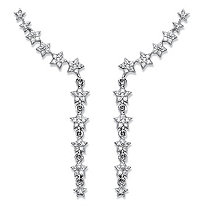 "Cubic Zirconia Star Ear Pin Climber Earrings in Sterling Silver 1.75"" (.47 TCW)"