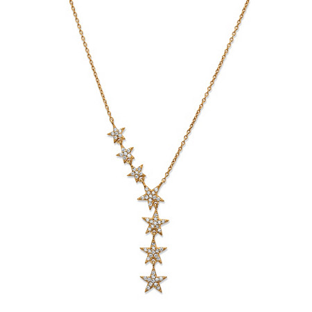 18k Gold over .925 Sterling Silver White Cubic Zirconia Star Y Necklace 18