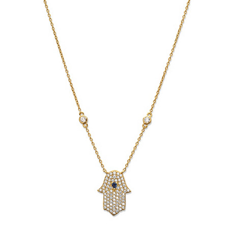 Blue Crystal and Cubic Zirconia Hamsa Pendant Necklace in 18k Gold over .925 Silver 18