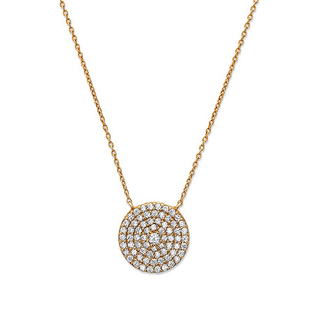 Round Cubic Zirconia Circle Pendant Necklace in 18k Gold over .925 Sterling Silver 18