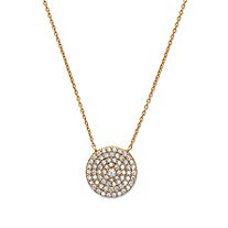 Round Cubic Zirconia Circle Pendant Necklace in 18k Gold over .925 Sterling Silver 18""