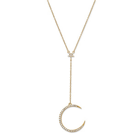 Cubic Zirconia Crescent Moon and Star Y Necklace in 14k Gold-Plated Sterling Silver 18