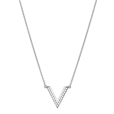 Round Cubic Zirconia V Necklace in Sterling Silver 18