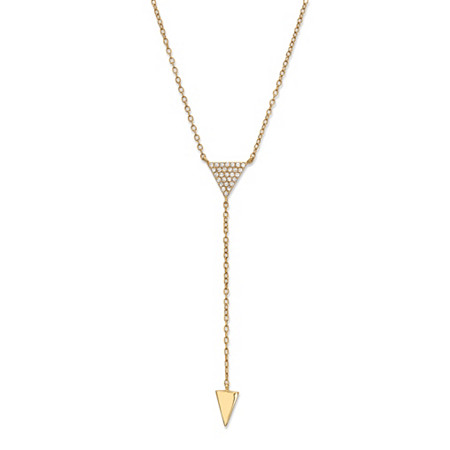 Cubic Zirconia Triangle Y Necklace in 14k Yellow Gold-Plated Sterling Silver 18