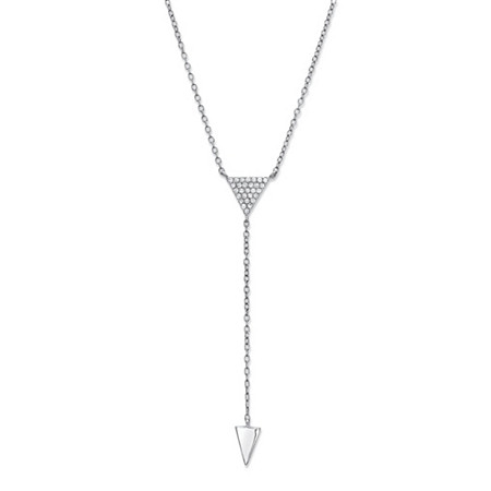 Cubic Zirconia Triangle Y Necklace in .925 Sterling Silver 18