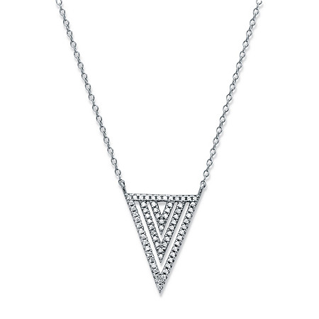 White Cubic Zirconia Triple Triangle Necklace in Sterling Silver 18