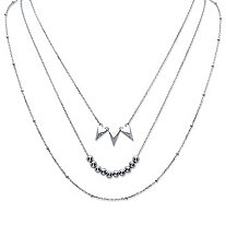 "Beaded Multi-Strand Statement Necklace in Sterling Silver 16.5""-18.5"""