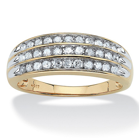 1/2 TCW Round Diamond Channel-Set Triple Row Ring in Solid 10k Gold at PalmBeach Jewelry