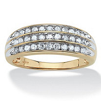 SETA JEWELRY 1/2 TCW Round Diamond Channel-Set Triple Row Ring in Solid 10k Gold