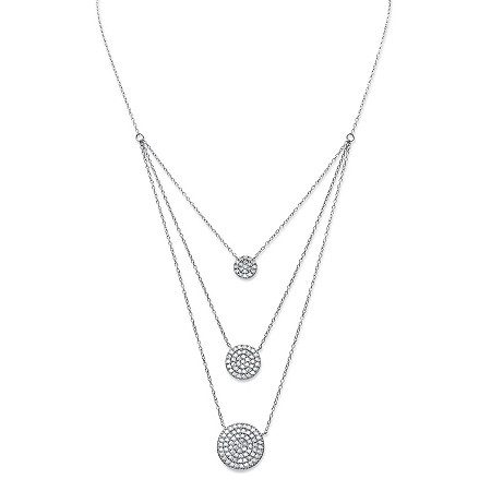 Cubic Zirconia Triple Circle Multi-Strand Necklace in Sterling Silver 16