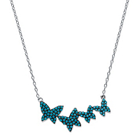 Round Blue Crystal Dancing Butterfly Necklace ONLY $10.95
