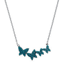 Round Blue Crystal Dancing Butterfly Necklace in Black Ruthenium-Plated Sterling Silver 18
