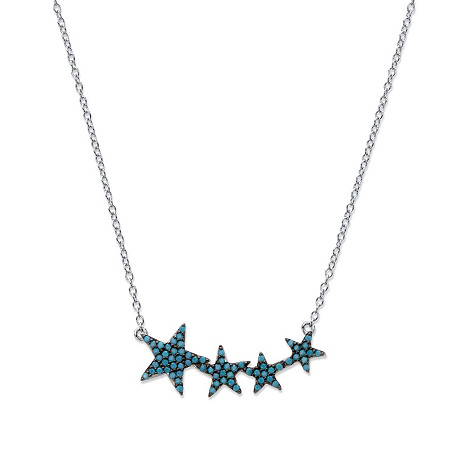 Round Blue Crystal Graduated Stars Necklace in Black Ruthenium-Plated Sterling Silver 18