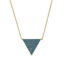 SETA JEWELRY Blue Crystal Triangle Necklace in 14k Yellow Gold-Plated with Black Ruthenium-Plating 18