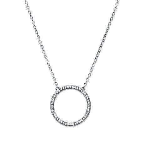 Round White Cubic Zirconia Open Circle Eternity Pendant Necklace in Sterling Silver 18
