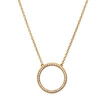 "Cubic Zirconia Open Circle Necklace 14k Gold-Plated .925 Sterling Silver 18""-20"" (.24 TCW)"